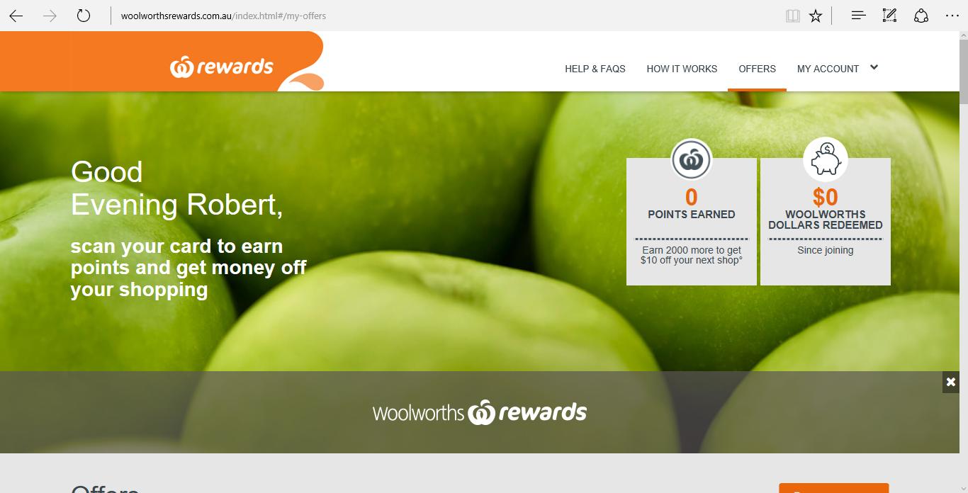 My Woolworths Rewards account set up!