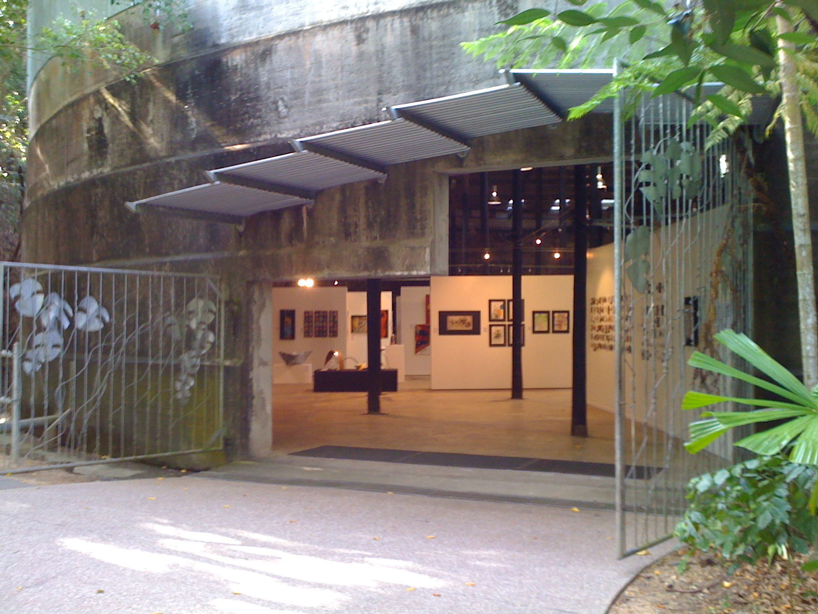 Steel gates lead into the Tanks Art Gallery, near the Botannical Garden, North Cairns.