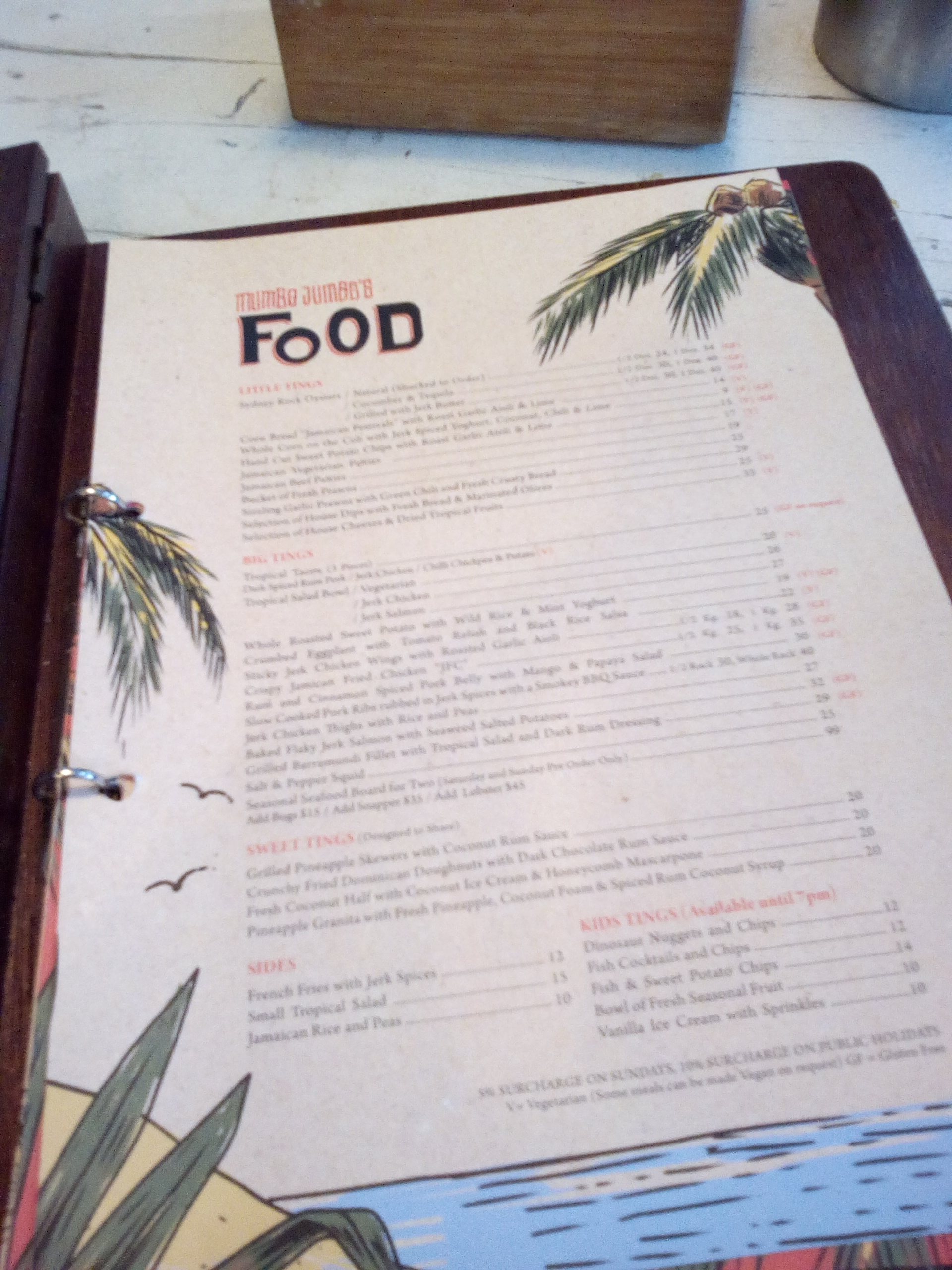 Menu at Mumbo Jumbos, opposite the Surf Club in Terrigal.
