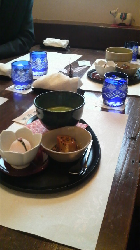Ice cream, sweet potato and green tea