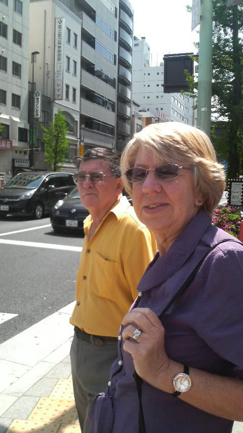 Mum and Dad one week later at Asakusa Station, on their way to Gaboh