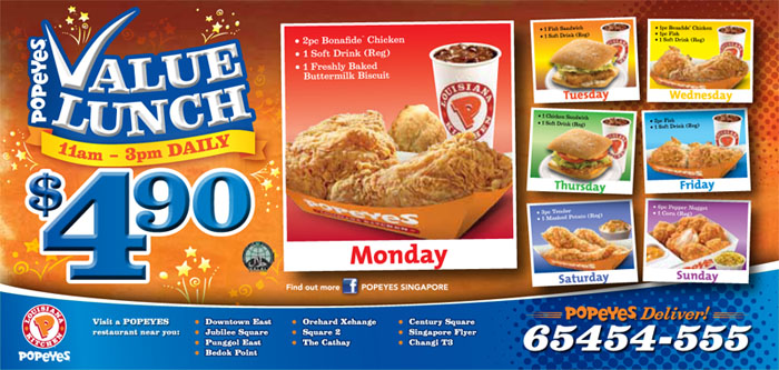 Flyer for Popeyes Louisiana Kitchen in Singapore