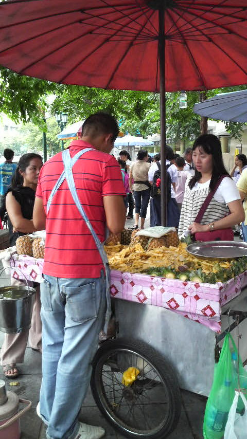 Pineapple vendor near the Democracy Monument in central Bangkok