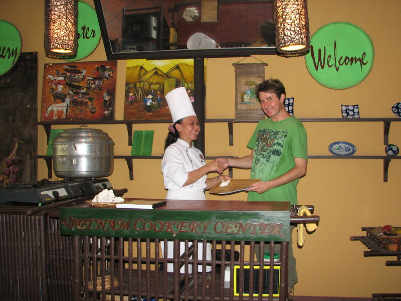 I am awarded my certificate, at the Vietnam Cookery Center