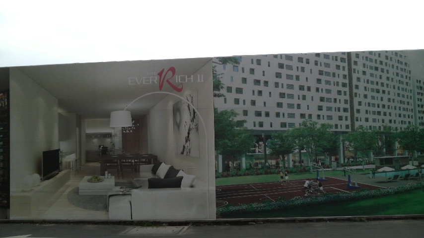 Billboard advertising the EverRich II developlment, currently under construction in Ho Chi Minh City