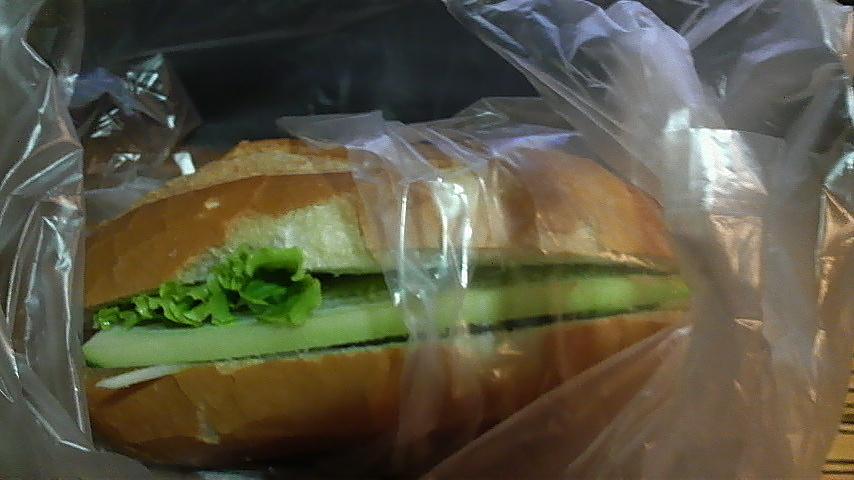 Greens in a kebab sandwich