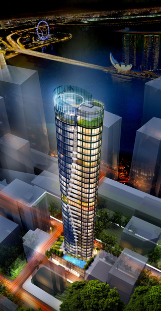 Another exciting addition to the Singapore skyline, the Oxley Tower.
