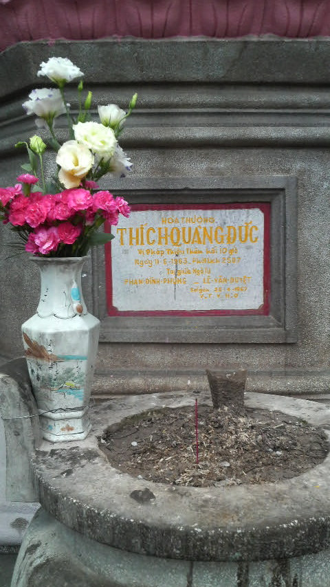 Roadside memorial to a man who died on the road: Thich Quang Duc.