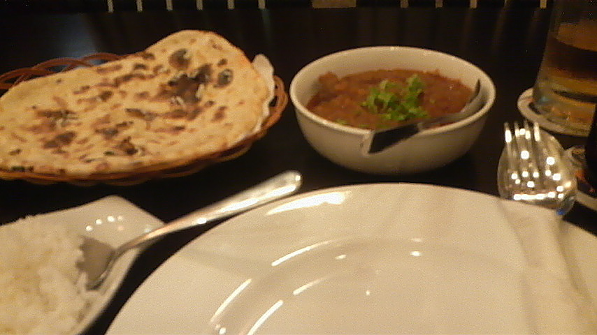 Rogan josh and cheese nan at Masala