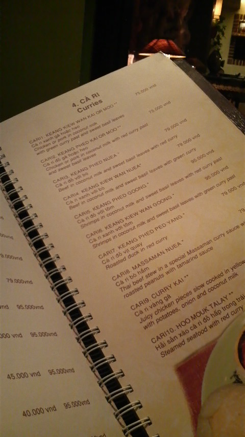 The curry page from the menu at Sawasdee Restaurant in Ho Chi Minh City