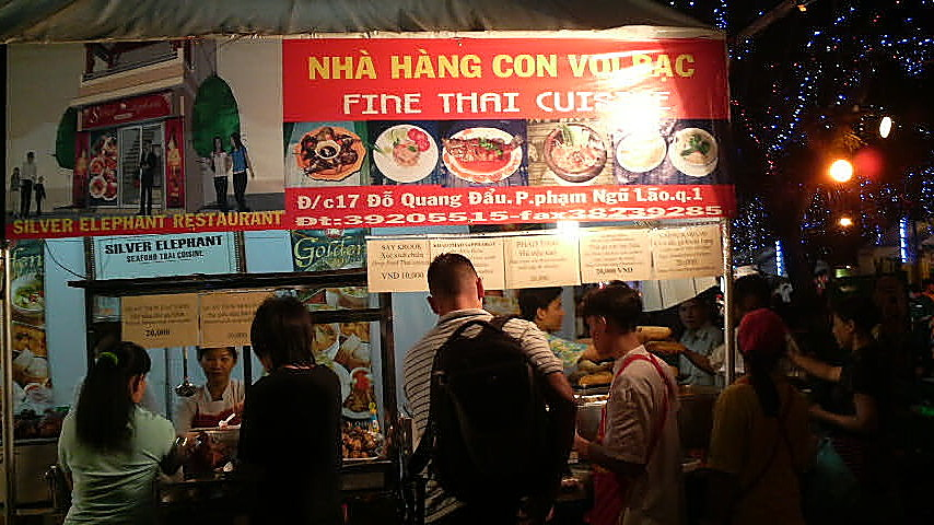 Thai restaurant takes it wares to the people at a New Years festival in the September 23 Park in downtown Ho Chi Minh City