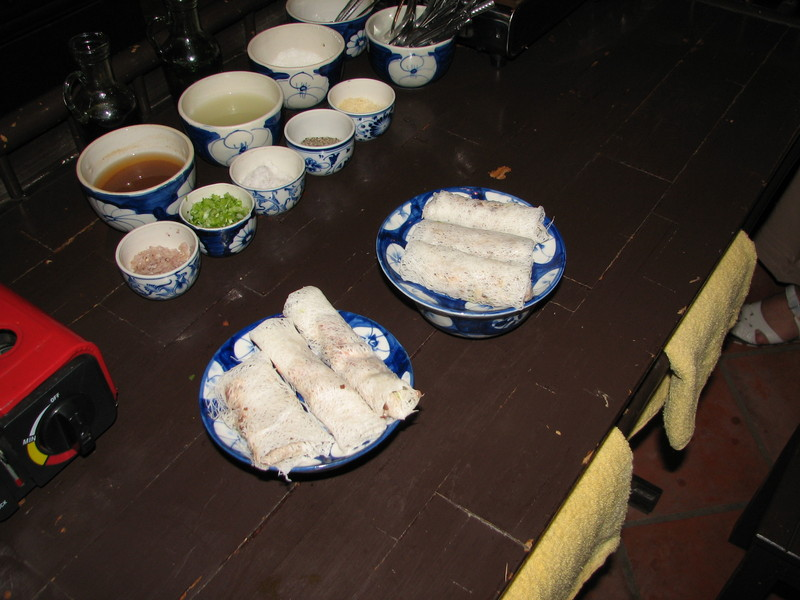Fried spring rolls, one of the dishes we made at our Vietnamese cooking class