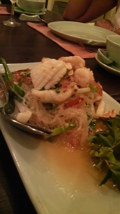 Some kind of squid fixture with lots of those thin thin thin vermicilli noodles