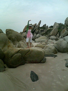 Strange rocks on the beach (note: the boulders in this photo are indeed real!)
