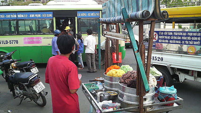 Bus stand near Ben Thanh Market, Ho Chi Minh City, Vietnam